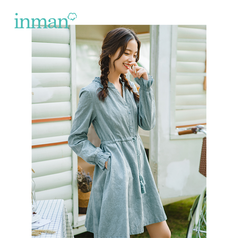 INMAN 2019 Spring New Arrival V neck Literary Casual Gentlewoman All Matched Defined Waist Slim A