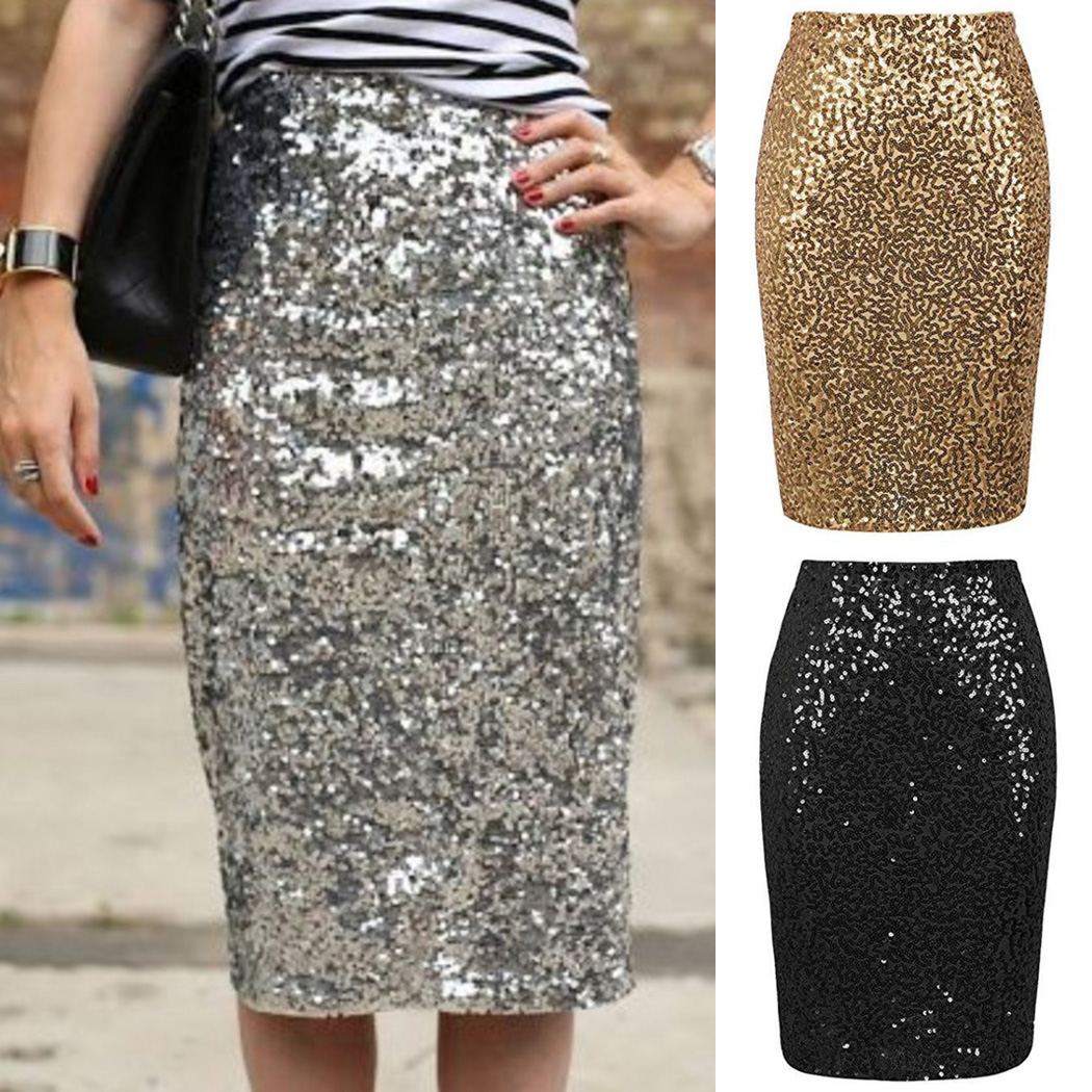 Sexy Glitter Shiny Sequin Pencil Skirt Women High Waist Silver Gold Stretchy Knee Length Skirts Female Party Club Midi Skirt