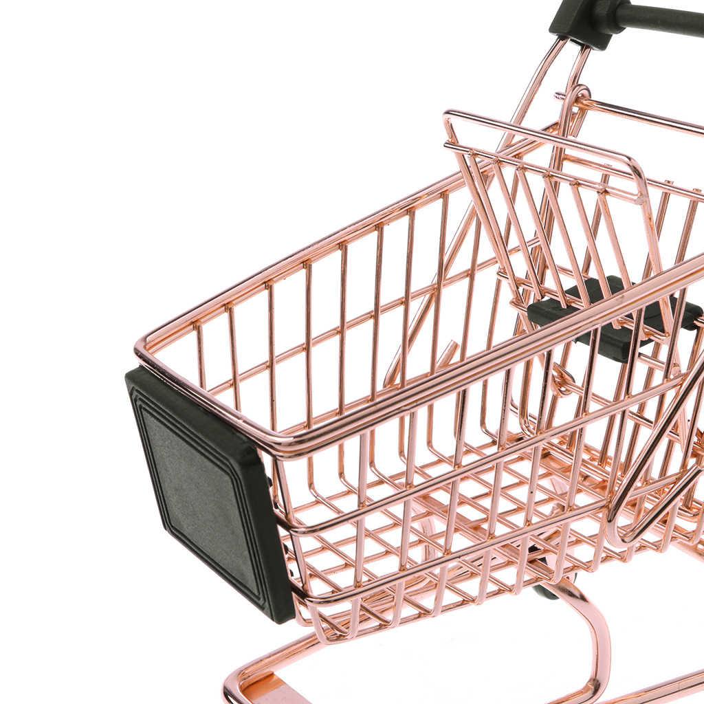 Mini carrinho de metal para crianças, miniatura de metal, compras, salão, amostra para crianças, fingi, brinquedo de decoração, sala de brinquedo, ouro rosa