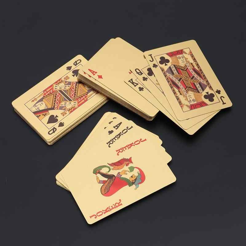 Высокое Качество водоотталкивающие игральные карты Пластик золото Фольга покер карты настольные игры Азартные игры Джокер игральная Магия хитрости инструмент карты джокер карты игральные жазигалка инструмент покер