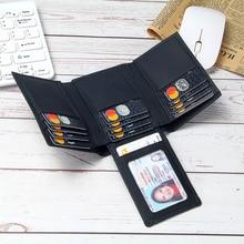 Leather RFID Blocking Wallet Men Trifold 14 Card Slots Busin