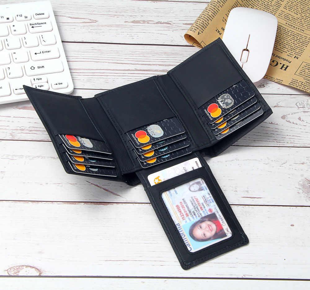 Da RFID Ngăn Chặn Ví Nam Ba Lỗ 14 Khe Cắm Thẻ Thiếp Đựng Thẻ Nam Da Thật Chính Hãng Da Ví Túi Tiền nam