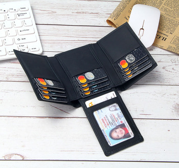 Leather RFID Blocking Wallet Men Trifold 14 Card Slots Business ID Holders Mens Genuine Purse Money Bags Male