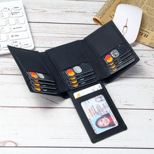 Leather RFID Blocking Wallet Men Trifold 14 Card Slots Business ID Card Holders Men's Genuine Leather Purse Money Bags Male