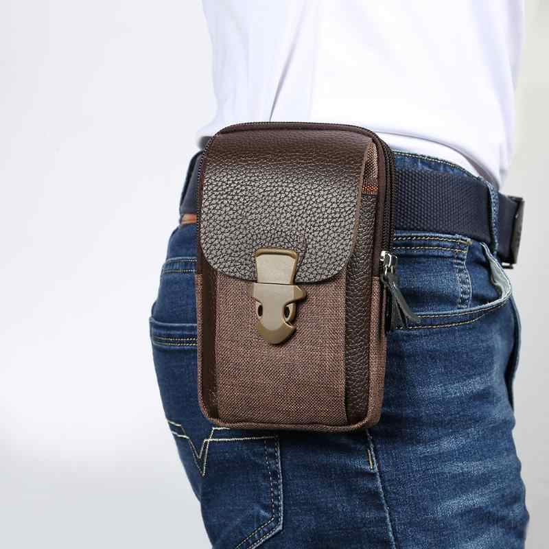 6 inç erkekler PU deri bel çantaları fermuarlı küçük kart tutucu telefon cüzdan paketleri kemer dayanıklı Fanny çanta siyah kahve yüksek kaliteli