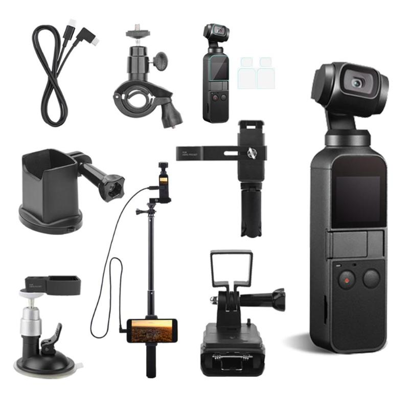 8pcs Set Camera Accessary Action Camera Tripod Set With Gimbal Adapter Extension Rod And Backpack Clip