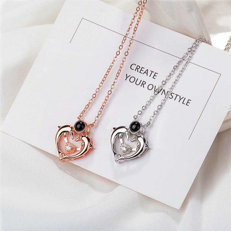 100 langue je t'aime 925 collier en argent Sterling dauphin coeur bijoux dauphin balle pendentif colliers mode cadeau de noël