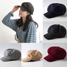 2019 New Fashion Black Hat Cap Women Casual Streetwear Cap Elegant Solid Autumn Winter Warm Beret Hat Female Drop shipping