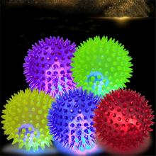 Soft Rubber Luminous Pet Dog Chewing Elastic Ball Toy LED Play Flash Cat