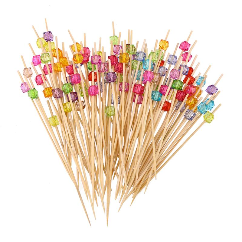 100 Pcs 12 cm Cocktail Picks Creative Handmade Square Octagonal Bead Appetizer Picks Fruit Toothpicks Party Supplies
