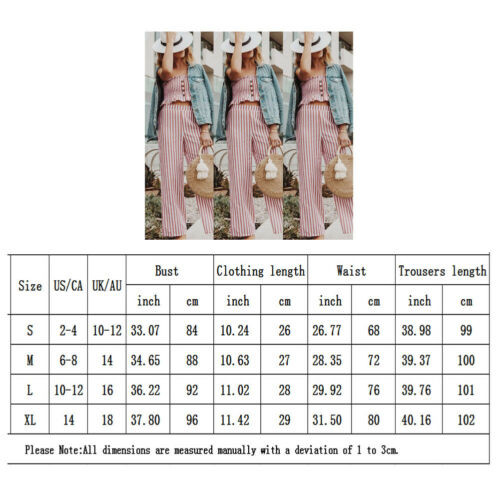Summer Clothes 2019 New Women Casual Striped High Waist Trousers Set Strapless Vest Top+Wide Leg Pants