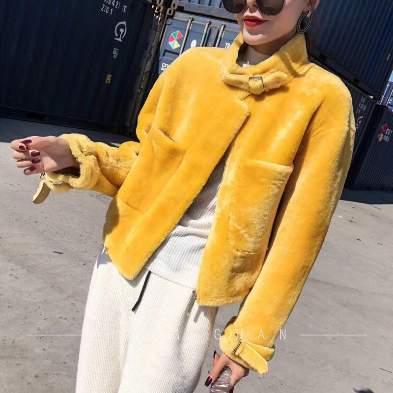 Peau Chaude Veste En black Mouton Doux P4886 White Manteau Cisaillement Hiver yellow Pièce Réel Cuir Femmes Épaisse Fourrure Une Ptslan De 2018 RxwZAzqWO8