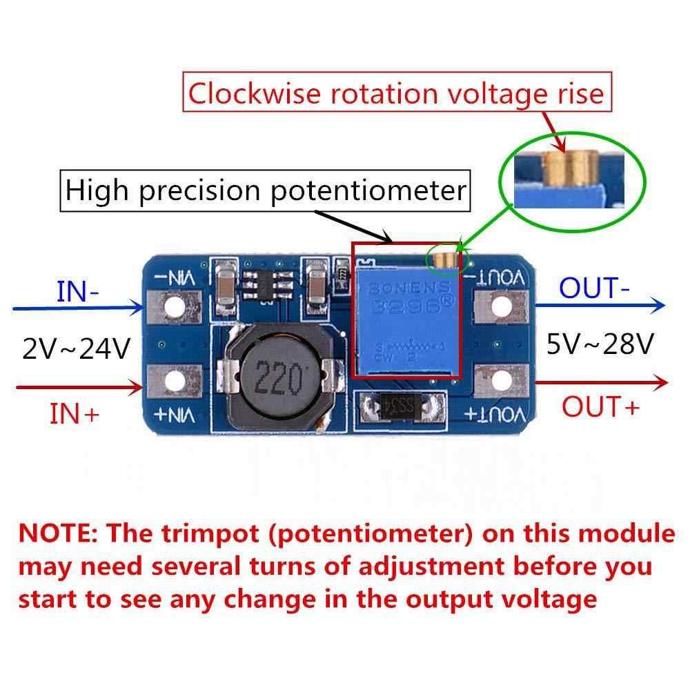 MT3608 DC-DC Module de suralimentation réglable 2A DC Module de convertisseur de suralimentation cc 2 V-24 V à 5V 9V 12V 28V