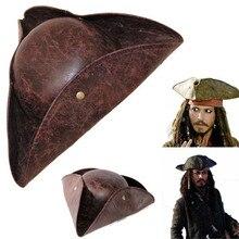 Пиратская Кепка Пираты Карибы Пиратская Кепка тайн шляпа Косплей вечерние Джек треугольник шляпа из искусственной кожи унисекс Пиратская шапка на Хэллоуин