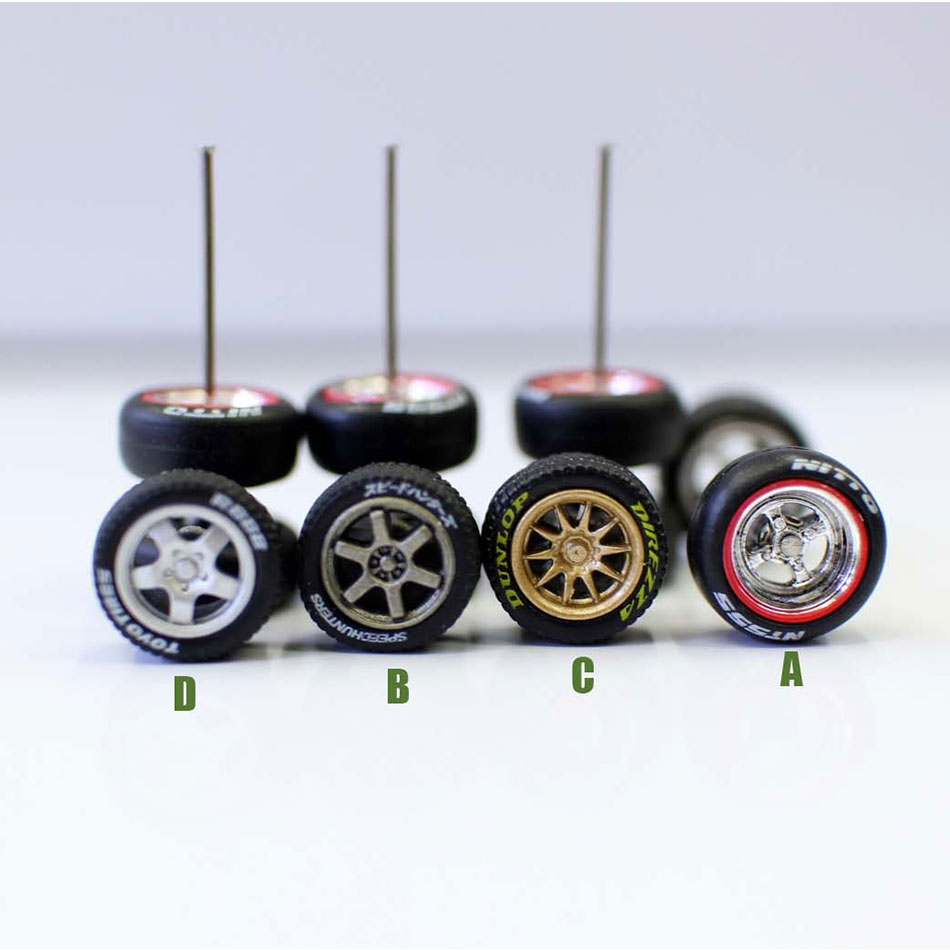 1/64 Scale 3 Pairs Rubber Tire Model Alloy Wheel For RC Car 10.8x4.8mm Toy Train Tire Mini Sand Table Landscape