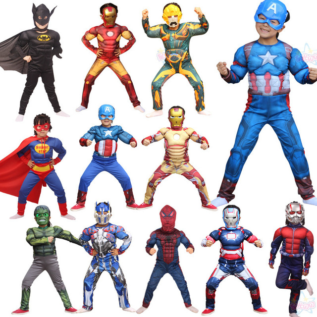 Christmas Cosplay For Children Boys Super Hero Captain America Costume Halloween Optimus Prime Hulk Avengers Costumes carnival