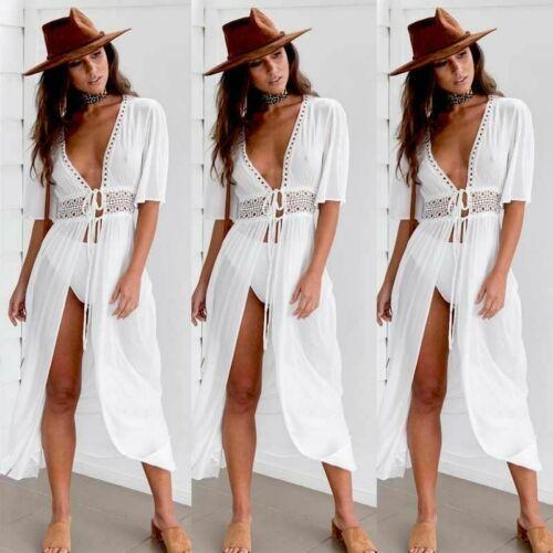 Sexy Ladies Women Solid White Bikini Cover up Beach Dress Swimwear Chiffon Beachwear Bathing Suit Summer Holiday Kimono Cardigan 6