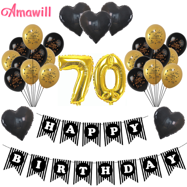 Amawill Classy 70TH Birthday Party Decorations Kit Black Banner Gold 70 Foil Balloon Perfect Seventy Years Old Supplies 8D