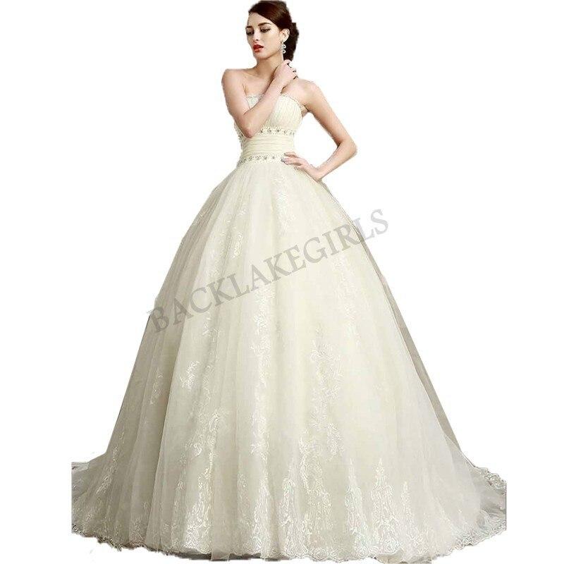 Wedding Dress 2018 Sodigne Vestido De Noiva Romantic Lace Applique Off The Shoulder Beaded A Line Strapless Bridal Gown