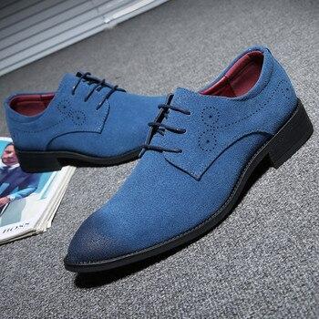 715784f3 Zapatos casuales de cuero de gamuza cómodos planos de hombre clásicos Retro  Brogue Oxfords zapatos talla grande 47 48