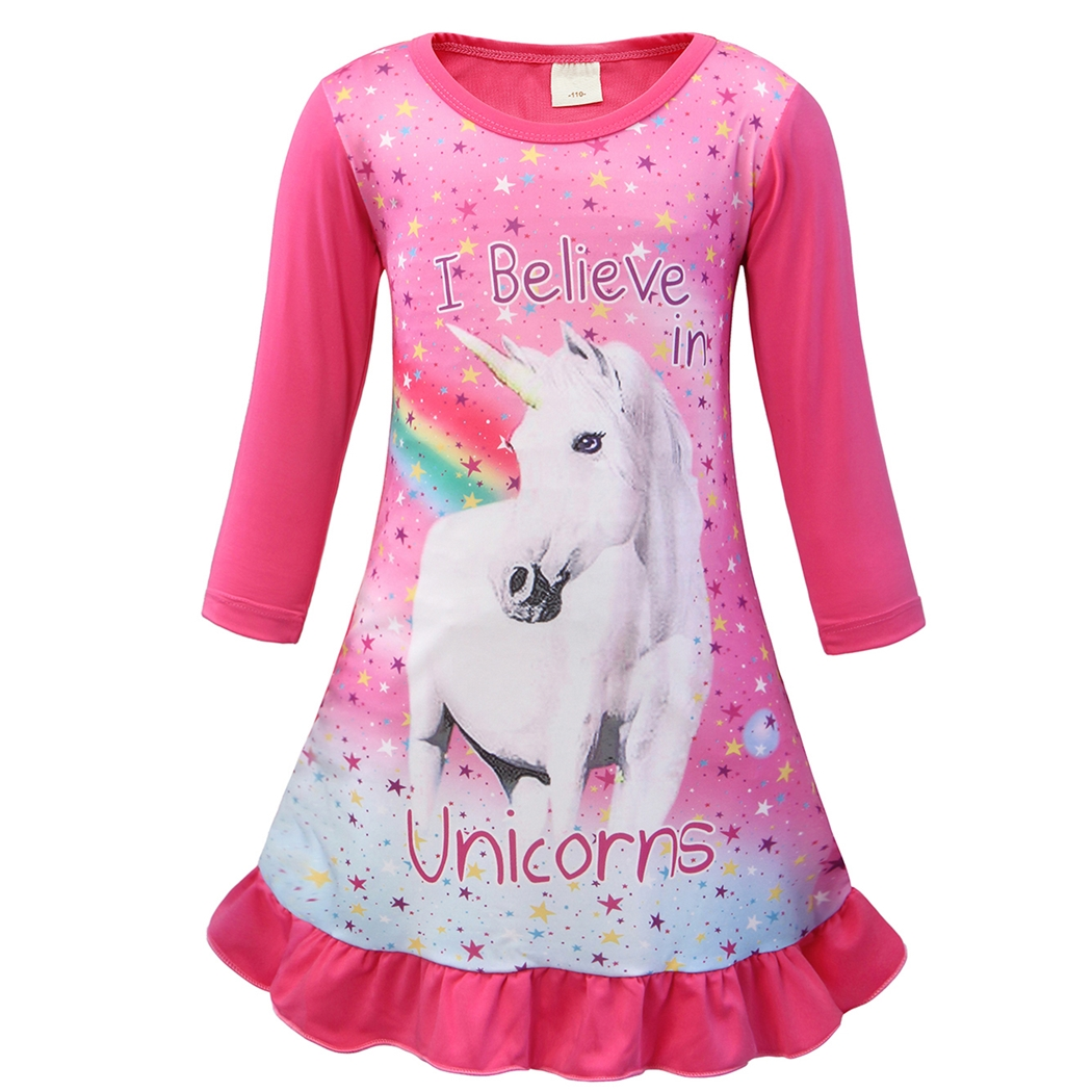 AmzBarley Unicorn Girls Dress Kids Long Sleeve Cartoon Pajamas Nightgown Animal Printed Nightie Night Sleepwear Dresses