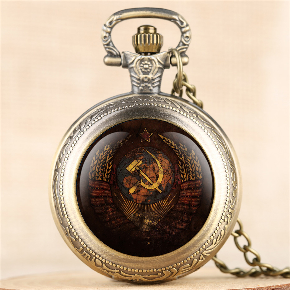 Classic Soviet Union Design Quartz Pocket Watch USSR Pendant Watch Souvenir CCCP Necklace Watches Gifts For Men Women Reloj
