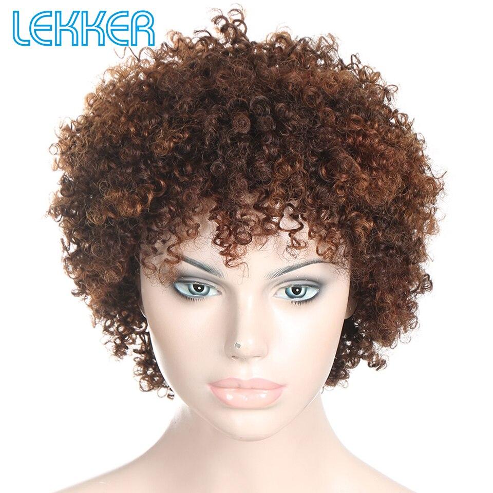 Lekker Wigs Pixie Curly Hair Human Hair Wigs Brazilian Remy 100 Human Hair Machine Made Short