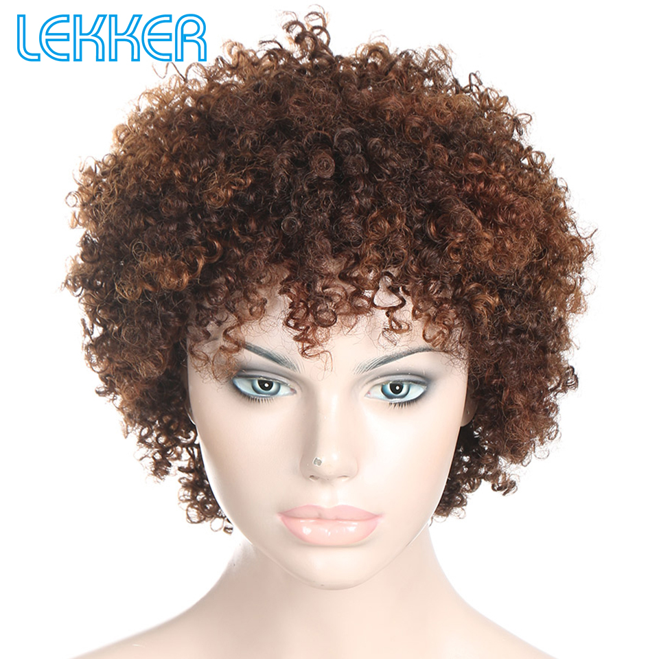 Lekker Wigs Pixie Curly Hair Human Hair Wigs Brazilian Remy 100% Human Hair Machine Made Short Wigs For Women More Colors Choice