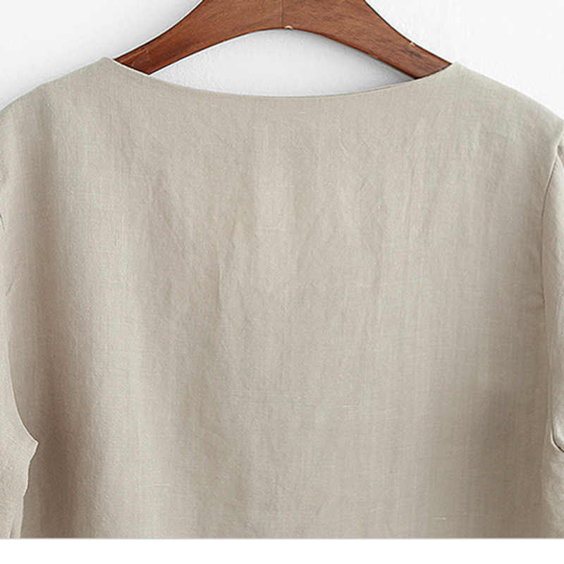 Nova Moda Camiseta Com Decote Em V Das Mulheres de Linho Básico Camiseta Feminina Verão Branco Sexy Mulheres Camiseta De Algodão Do Vintage Solta Fina T camisas XXXL