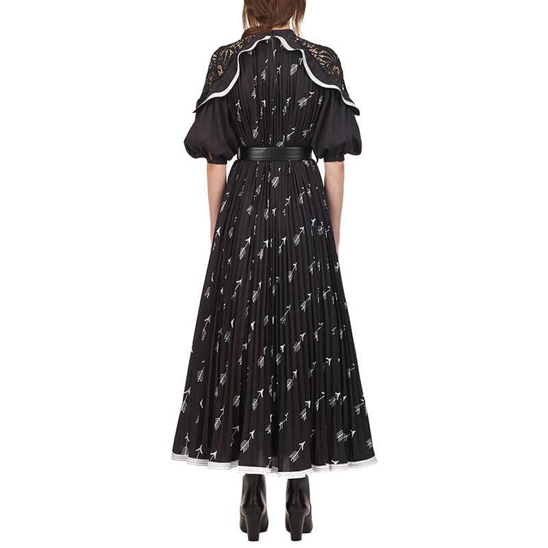 Платье для автопортретов 2019 весеннее женское высококачественное Платье с принтом кружевное Элегантное длинное вечернее платье с коротким рукавом vestidos