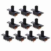 10 pièces Noir SPDT ON-Off Glissière Miniature Interrupteurs À Bascule Composant Électronique bricolage Connecteur D'alimentation Fils Mini Interrupteur Noir