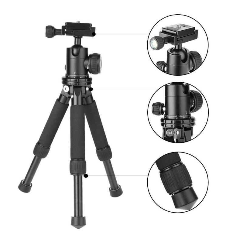 Aluminium Camera Tripod Stand Mini Tripod Stand Holder Mount Monopod Bracket with Ball Head for DSLR Camera Camcorder