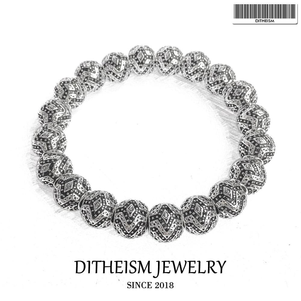10mm Strand Bracelets Panther Beads, 2018 New Blackened Silver Fashion Jewelry Trendy Ethnic Gift for Men Boy Women Girls