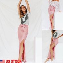 0afcf8de701 hirigin US Women s Fashion Split Satin Long Maxi Skirt Cocktail Sundress