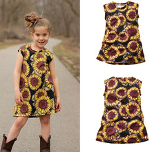 VTOM Summer  Baby Girls Dresses Kids Flowers Sleeveless Princess Dress Girl Clothes XN55