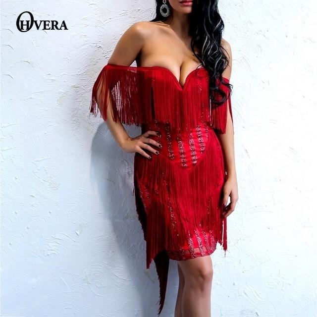 70c829531b US $23.69 41% OFF|Ohvera Red Tassel Party Dresses Women Backless 2018  Autumn Sexy Dress Midi Bodycon Mesh Sequin Fringe Dress Elegant Vestidos-in  ...