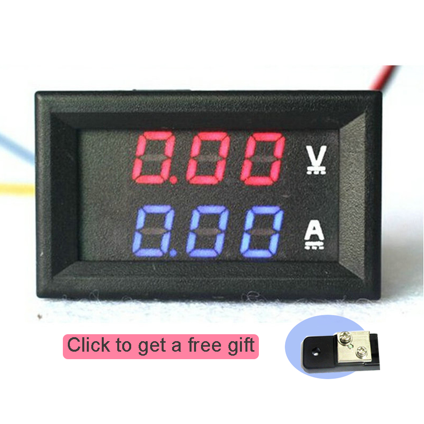 <font><b>DC</b></font> <font><b>100V</b></font> 10A <font><b>50A</b></font> <font><b>Voltmeter</b></font> <font><b>Ammeter</b></font> Digital Current Tester 0.56 inch High Quality Blue Red LED Amp Dual Digital <font><b>VoltMeter</b></font> Gauge image