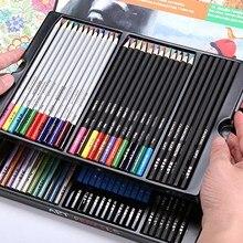 60 stücke Kunst Farbige Bleistifte Set Holzkohle Bleistift Aquarell Metallic Farbe Bleistifte für Skizzieren Zeichnung Färbung