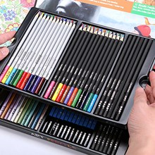 60pcs Art Colored Pencils Set Charcoal Pencil Watercolor Metallic Color Pencils for Sketching Drawing Coloring