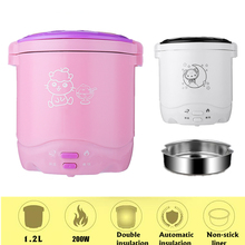 220V 180W 1.2L Electric Skillet Multifunction Mini Rice Cooker Noodles Food Warmer for Students Dormitor Stainless Steel Hot Pot