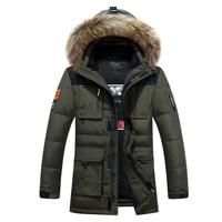 2018 Men's Park Winter Thicken Hoodies Hooded Long Sleeve Down Zipper Pocket Jacket Men's Winter Warm Coat Men Parka 3XL