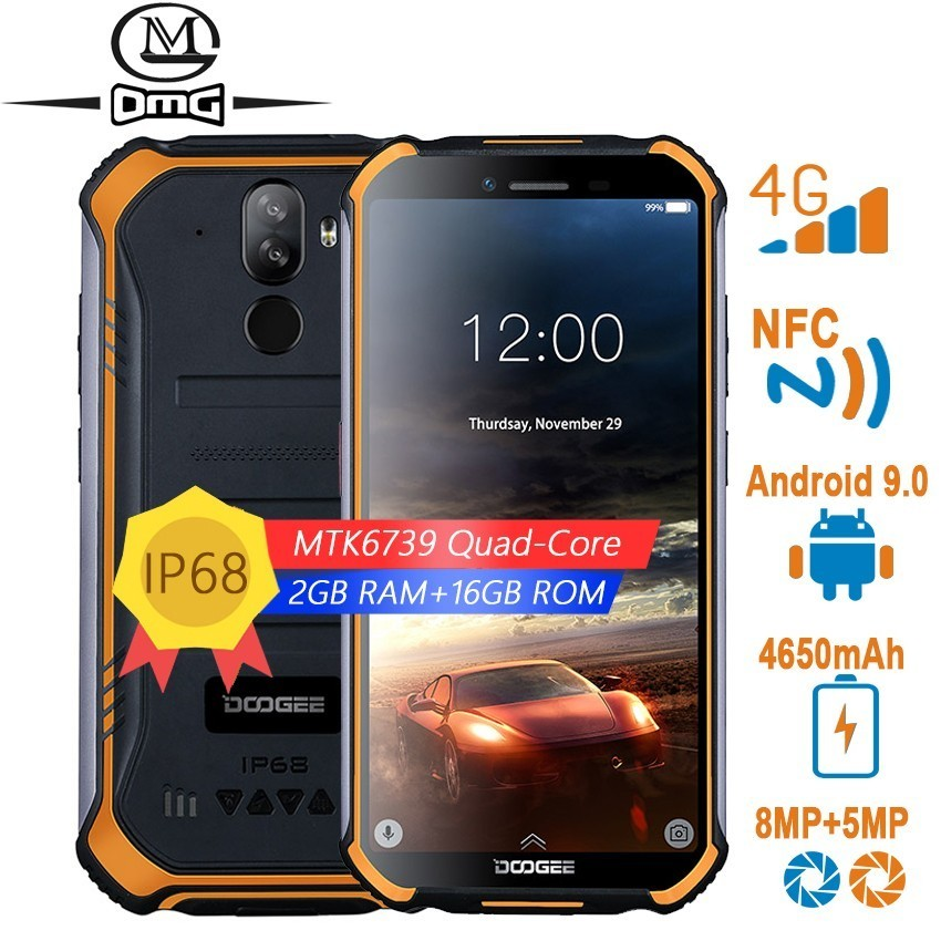 "DOOGEE S40 4G rugged Smartphone Android 9.0 5.5"" 4650mAh Quad Core mobile phone 2GB +16GB 8.0MP fingerprint NFC IP68 cell phones"