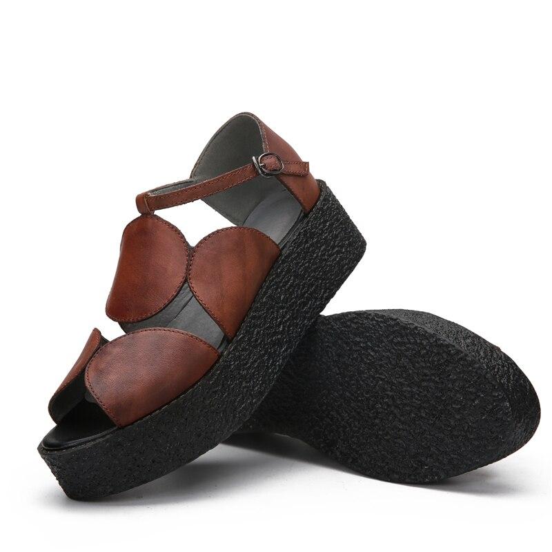 Calzature Piattaforma In Fiore Vino Donne Morbida Nero Delle Genuino Della Rosso Tacchi Scarpe Ootwear 5 Sandali Estate Dei Pelle Nero colore Cuoio Centimetri Di Il XwzZT6
