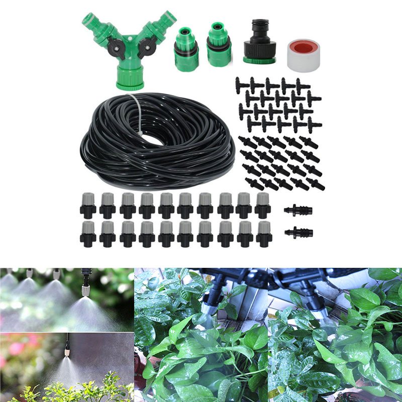 High Quality Spray Nozzle 20m Misting Cooling System For Outdoor Patio Garden Greenhouse Irrigation Set 47