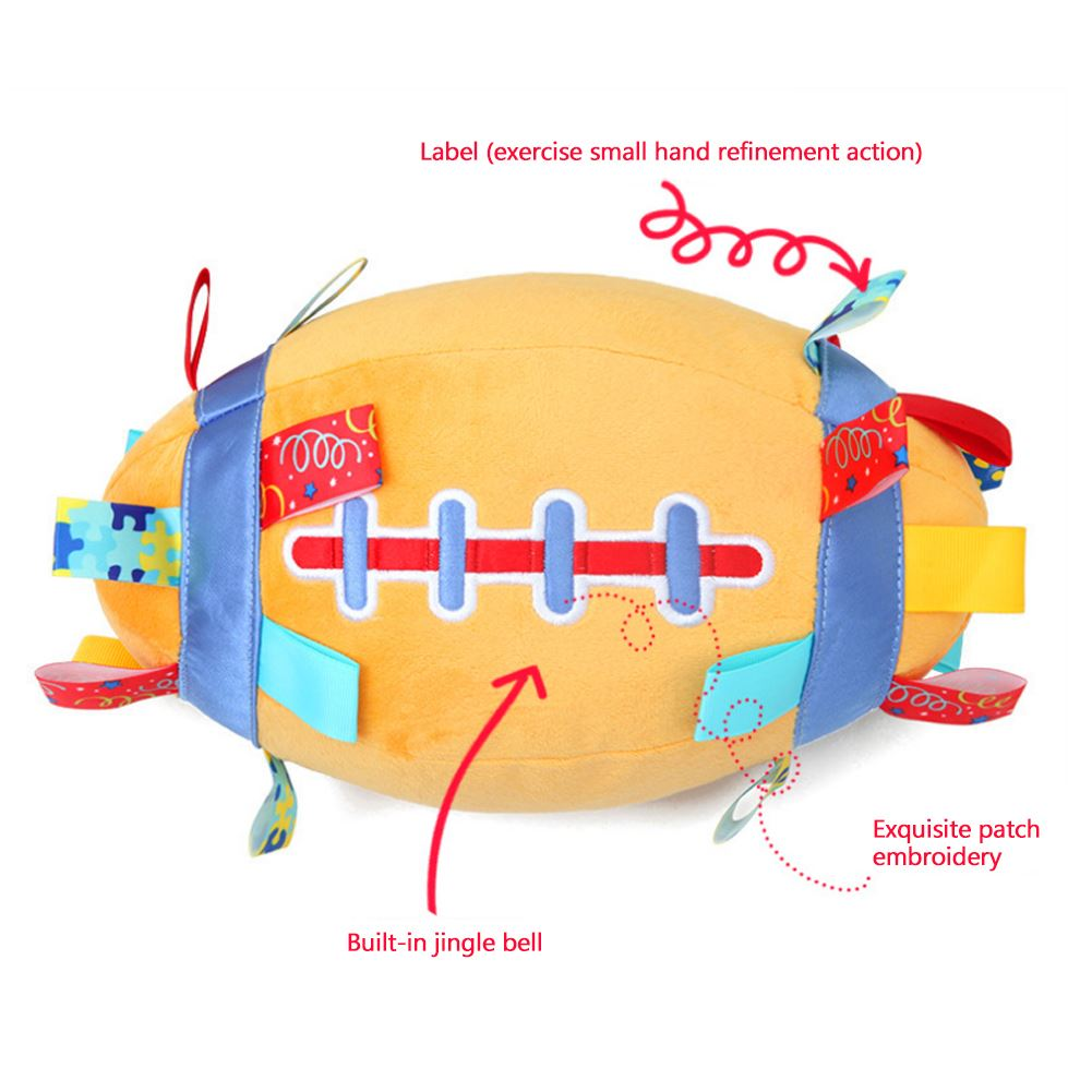 1 PC Baby Rattles Football Shape Plush Bell Ball Unisex Orange Hand Catch Early Education Toy image