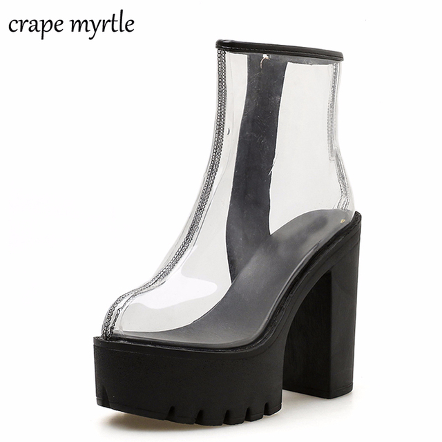 7dbf86adc29 white boots 2019 PVC Transparent Boots for Women Sexy High Heels Platform  Boots Spring Autumn Ladies