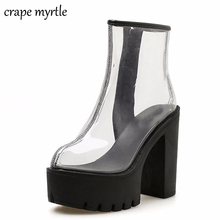 Купить с кэшбэком white boots 2020 PVC Transparent Boots for Women Sexy High Heels Platform Boots Spring Autumn Ladies Shoes Ankle Boots YMA479