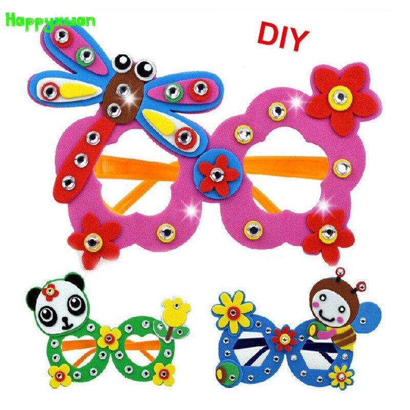 Happyxuan 16 Pcs/lot Cute DIY Cartoon Glasses Eva Craft Kits Kindergarten Toys For Kids Birthday Party Gift
