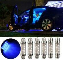 2/4/10 pces placa de número do carro lâmpada 42mm c5w interior do carro luz de leitura festoon dome luz 8 led automobie azul dc12v