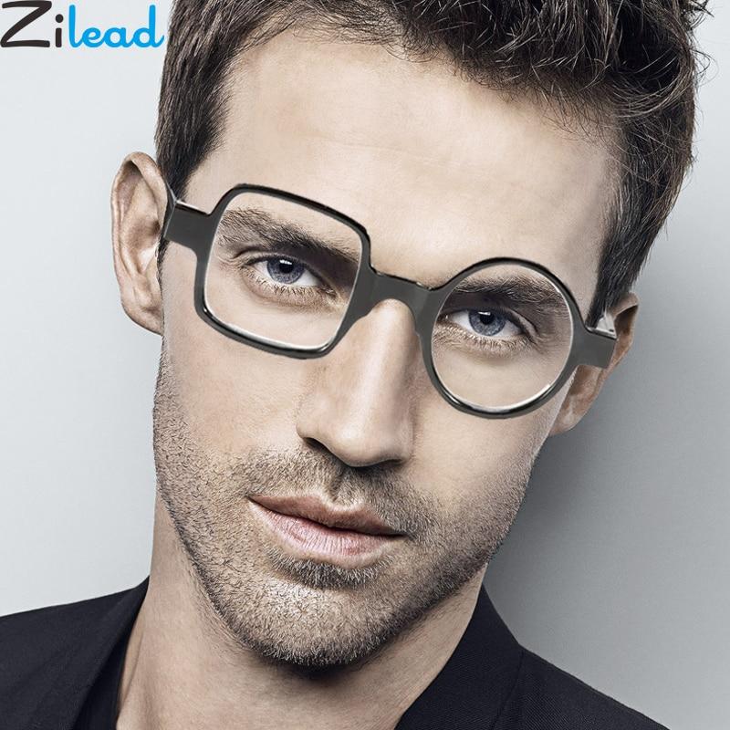 Zilead Round&Square  Asymmetrical Reading Glasses For Women&Men Resin Presbyopia Glasses Hyperopia Eyeglasses+1.0to+4.0 Unisex